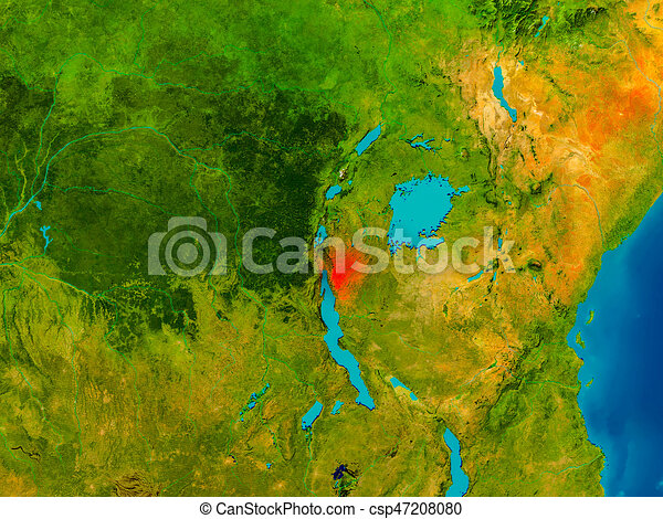 Burundi on physical map Burundi highlighted in red on stock