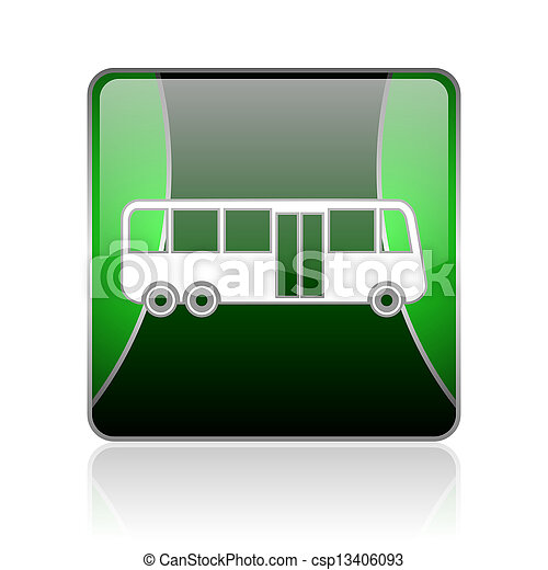 bus black and green square web glossy icon - csp13406093