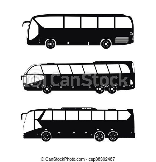 Bus black silhouettes on a white background - csp38302487