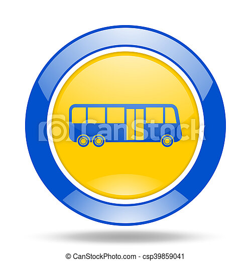bus blue and yellow web glossy round icon - csp39859041