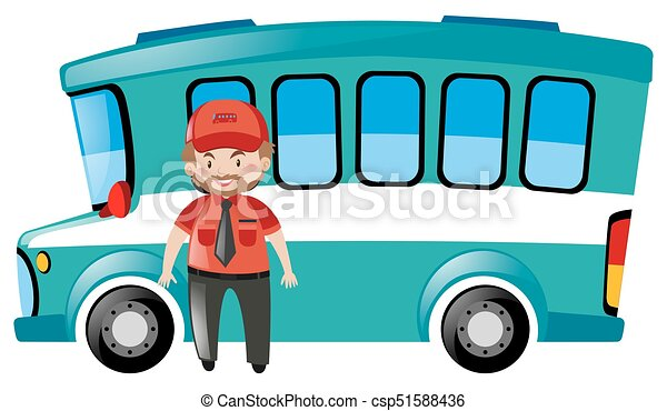 bus driver standing by the bus illustration vectors search clip rh canstockphoto ie