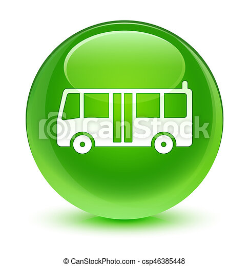 Bus icon glassy green round button - csp46385448