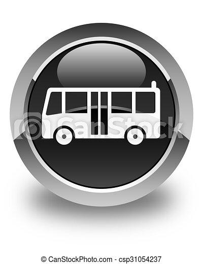 Bus icon glossy black round button - csp31054237