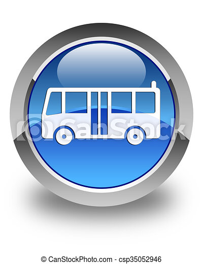 Bus icon glossy blue round button - csp35052946