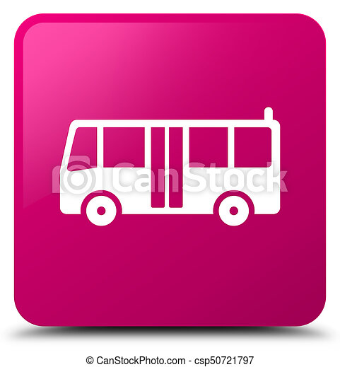 Bus icon pink square button - csp50721797