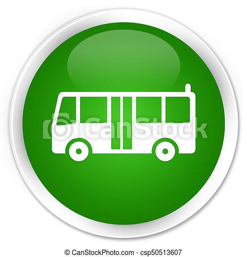 Bus icon premium green round button - csp50513607