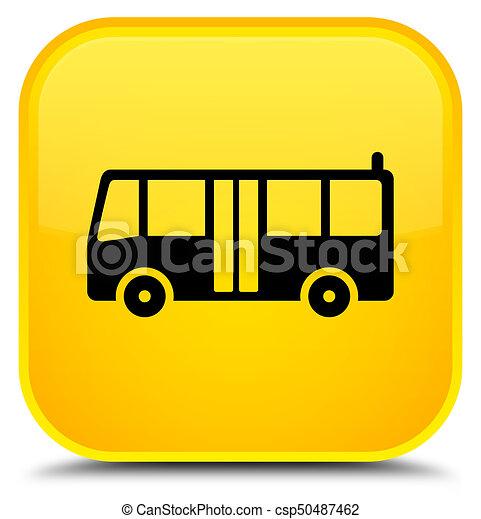 Bus icon special yellow square button - csp50487462