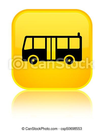 Bus icon special yellow square button - csp50698553