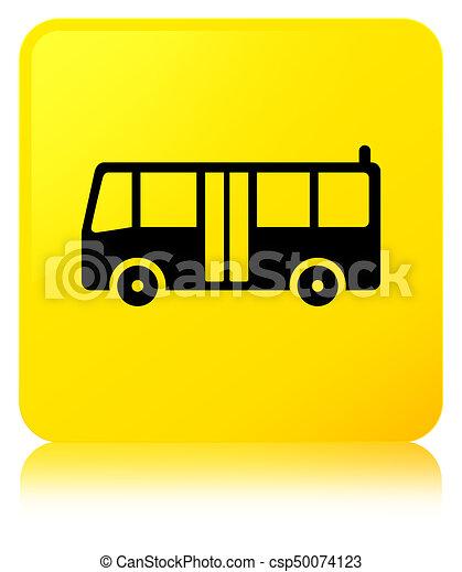 Bus icon yellow square button - csp50074123