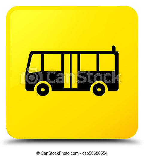 Bus icon yellow square button - csp50686554