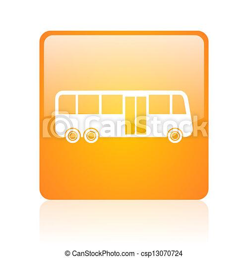 bus orange square glossy web icon - csp13070724