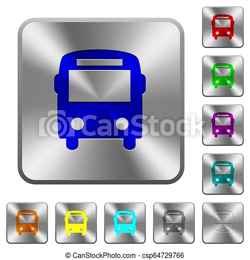 Bus rounded square steel buttons - csp64729766
