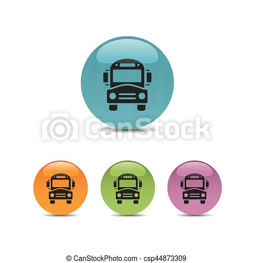 Bus school icon on a colored buttons - csp44873309