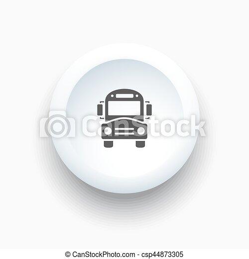 Bus school icon on a white button - csp44873305