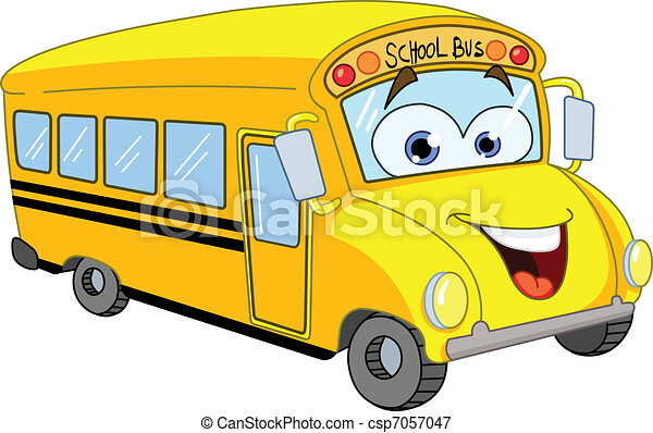 bus, schule, karikatur - csp7057047