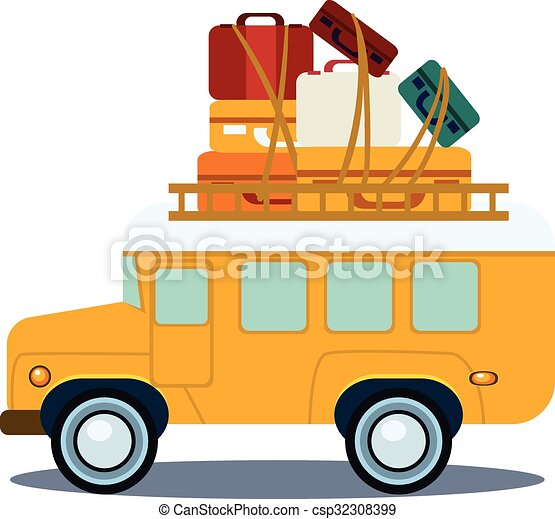 bus side view with heap of luggage vector illustration bus eps rh canstockphoto com luggage clip art free luggage clipart png