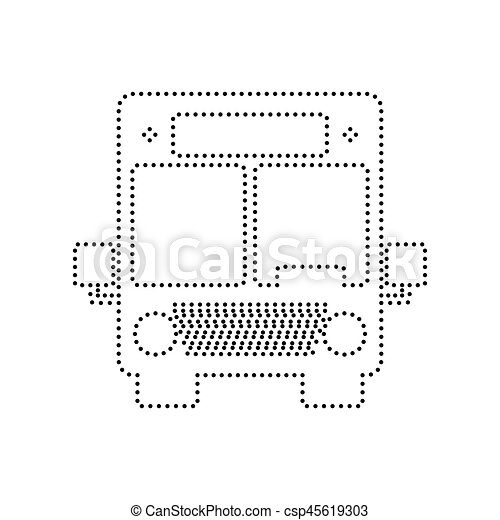 Bus sign illustration. Vector. Black dotted icon on white background. Isolated. - csp45619303