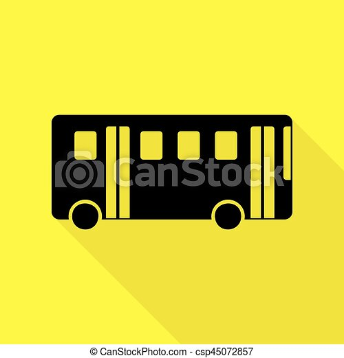 Bus simple sign. Black icon with flat style shadow path on yellow background. - csp45072857