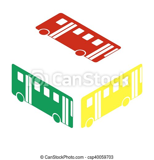 Bus simple sign. Isometric style of red, green and yellow icon. - csp40059703