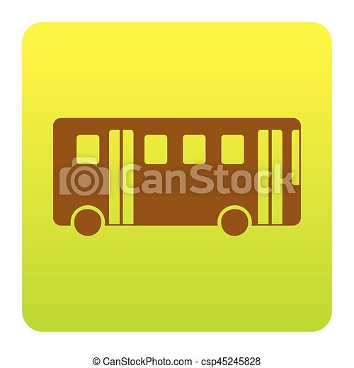 Bus simple sign. Vector. Brown icon at green-yellow gradient square with rounded corners on white background. Isolated. - csp45245828