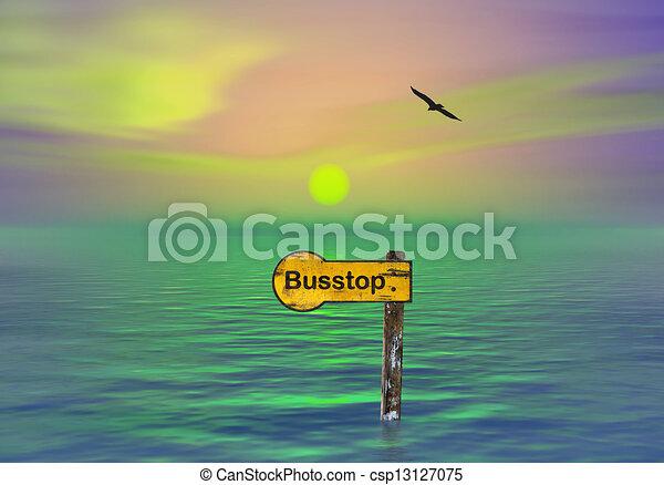 Bus stop underwater - csp13127075