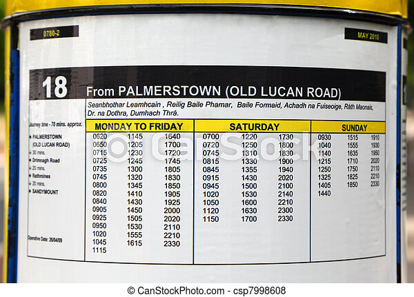 Bus Timetable On Round Board Monday To Friday Sa Ay Sunday Csp7998608