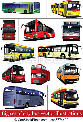 buses., 観光客, セット, coa, 都市, 大きい - csp6774402