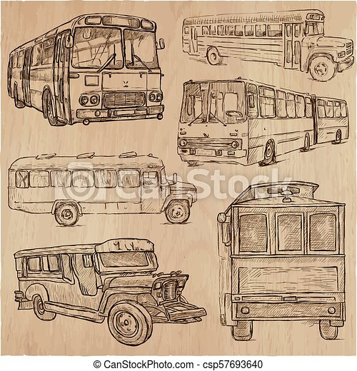 Buses An Hand Drawn Vector Collection Freehand Sketching