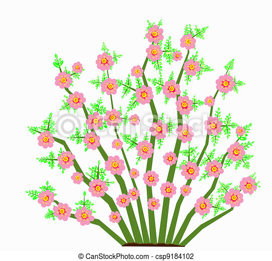 Painted abstract illustration of a spring flowering bush clip art bush with large pink flowers csp9184102 mightylinksfo