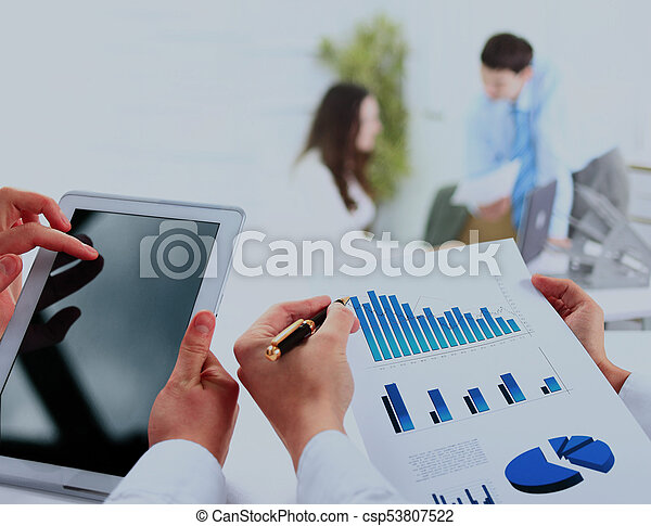 busienssman holding digital tablet in office. - csp53807522