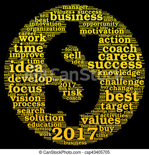 Business 2017 Word Cloud Concept In Shape Dollar Sign
