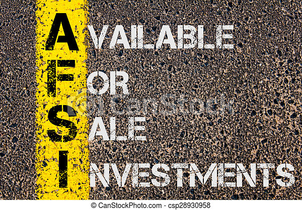 Business Acronym AFSI  as Available For Sale Investments - csp28930958