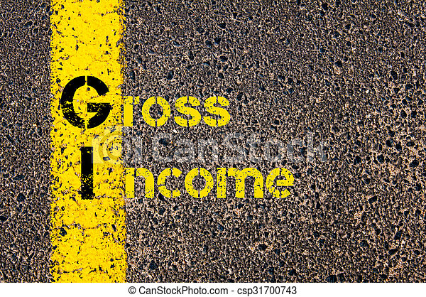 Business Acronym GI as Gross Income - csp31700743