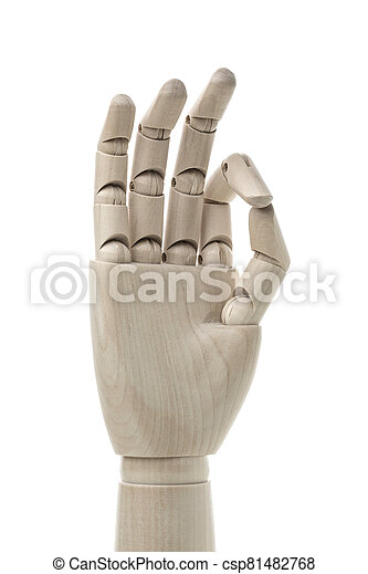 Business and design concept - Mannequin Hand on White Background. - csp81482768