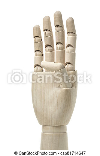 Business and design concept - Mannequin Hand on White Background. - csp81714647