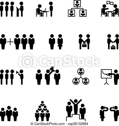 Business and management icons. HR vector - csp38132684