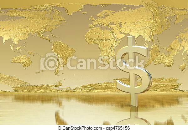 Business and success concept - Golden Background - csp4765156