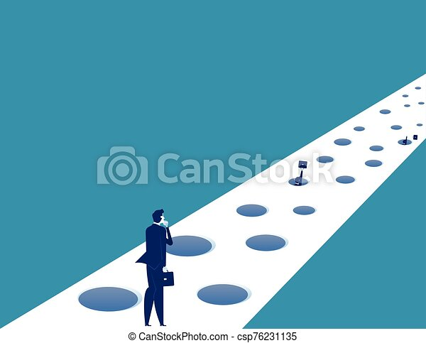 Business and trap on the road to success. Concept business vector illustration. - csp76231135