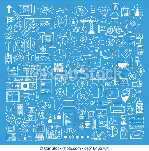 Business and website development doodles elements - csp16465704