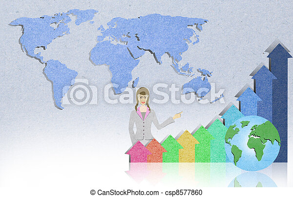 Business background with staple recycled paper craft stick   - csp8577860