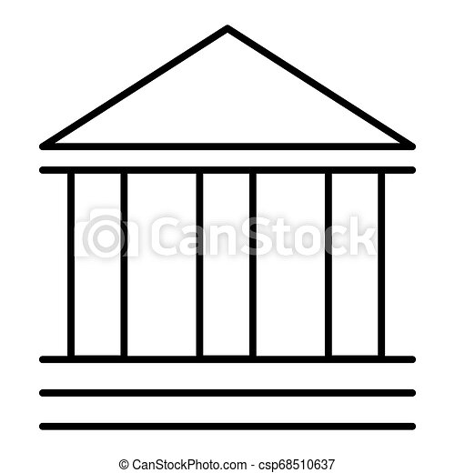 Business Bank Finance Line Outlined Icon Vector Bank Theatre Building. Flat style of pictogram. Eps 10 - csp68510637