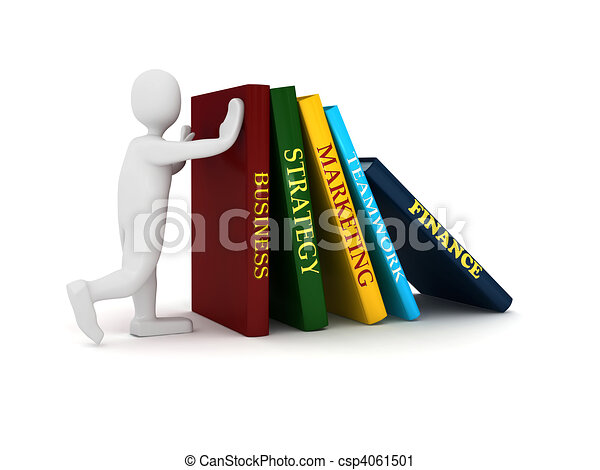 Business book with 3d person - csp4061501