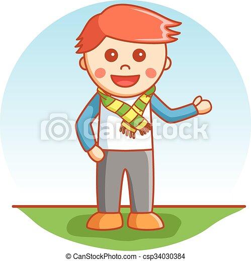 Business boy showing - csp34030384