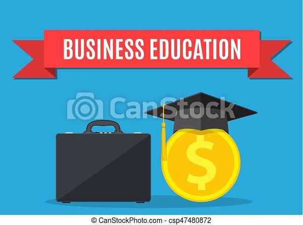 business briefcase, graduation cap, gold coins. - csp47480872