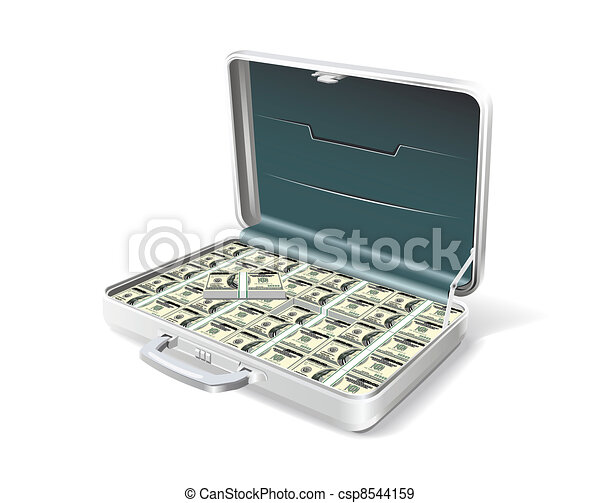 Business briefcase with the money. - csp8544159