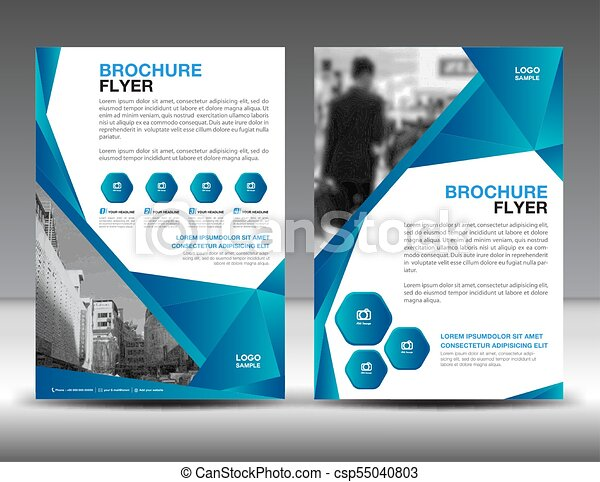 Business brochure flyer template vector illustration blue cover business brochure flyer template vector illustration blue cover design annual report cover wajeb Images