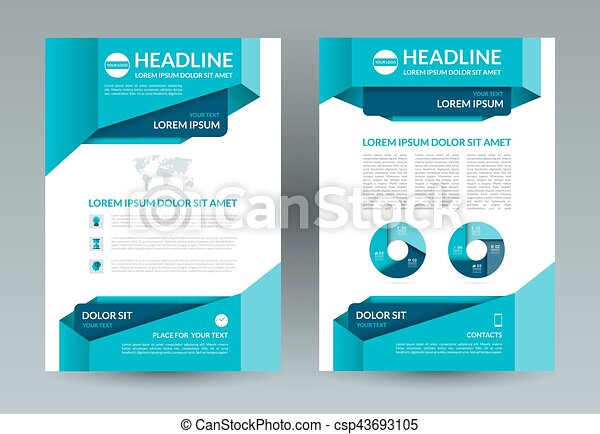 Business Brochure Layout Template A4 Size Front And Back Page Vector Background With Infographic