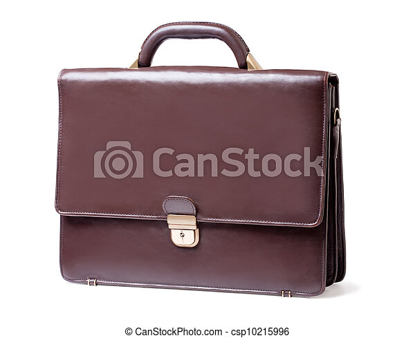 business brown briefcase on a white background - csp10215996