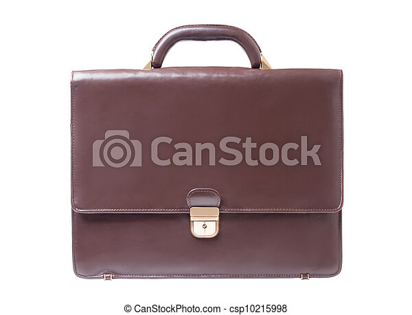 business brown briefcase on a white background - csp10215998