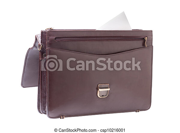 business brown briefcase on a white background - csp10216001